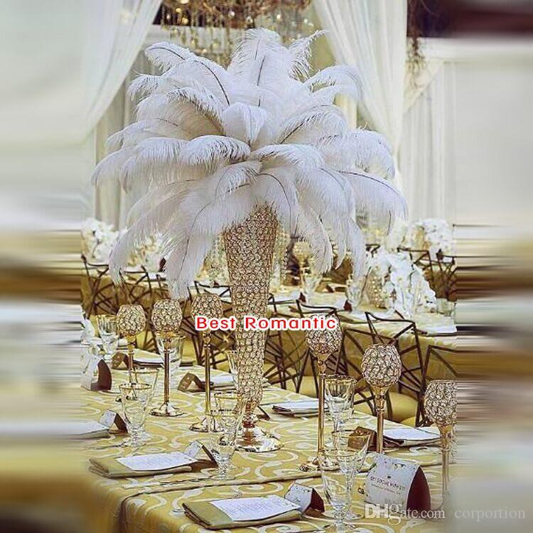European style gold silver crystal acrylic beaded wedding centerpieces flower vases table decor for wedding event party decoration