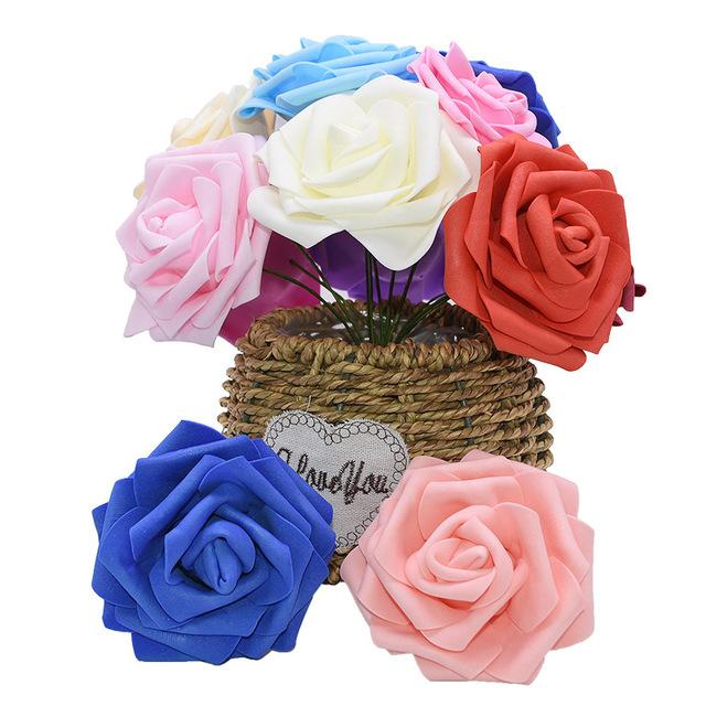 Artificial Rose Flowers for Wedding Party Arrangement Bride Hold Bouquet DIY PE Foam Home & Living Decor Rose Flowers DLH154