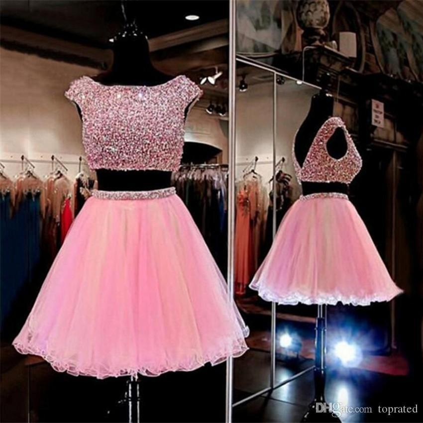 Deux morceaux Rose Courts Croustaux Homecoming Robes Scoop Sleeve Sleeve Dossier Tulle Strass Sexy Cocktail Robes pour Semi Prom 2020