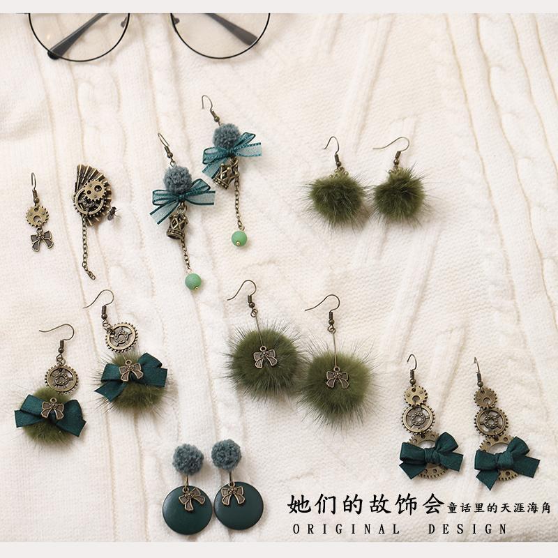 Принцесса сладкой лолиты серьга Темно-зеленый серьги японский оригинал ручная работа случайный и достойной весь матч GSH275