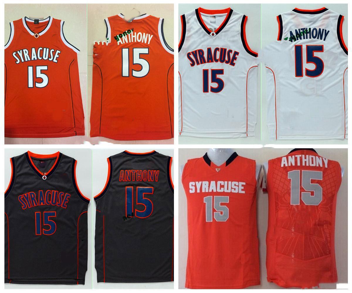 Erkek Syracuse Orange Camerlo Anthony Koleji Basketbol Formalar Camerlo Anthony 15. Gömlek Ucuz Dikişli özel Basketbol Forması