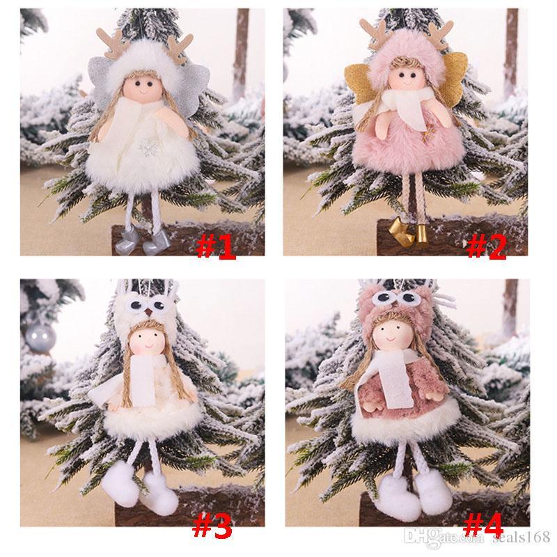 Plush Doll Christmas Tree Decoration Ornamento de suspensão do partido Mini Xmas Plush Angle Pendant presente Home Decor 4 Estilos HH9-2509