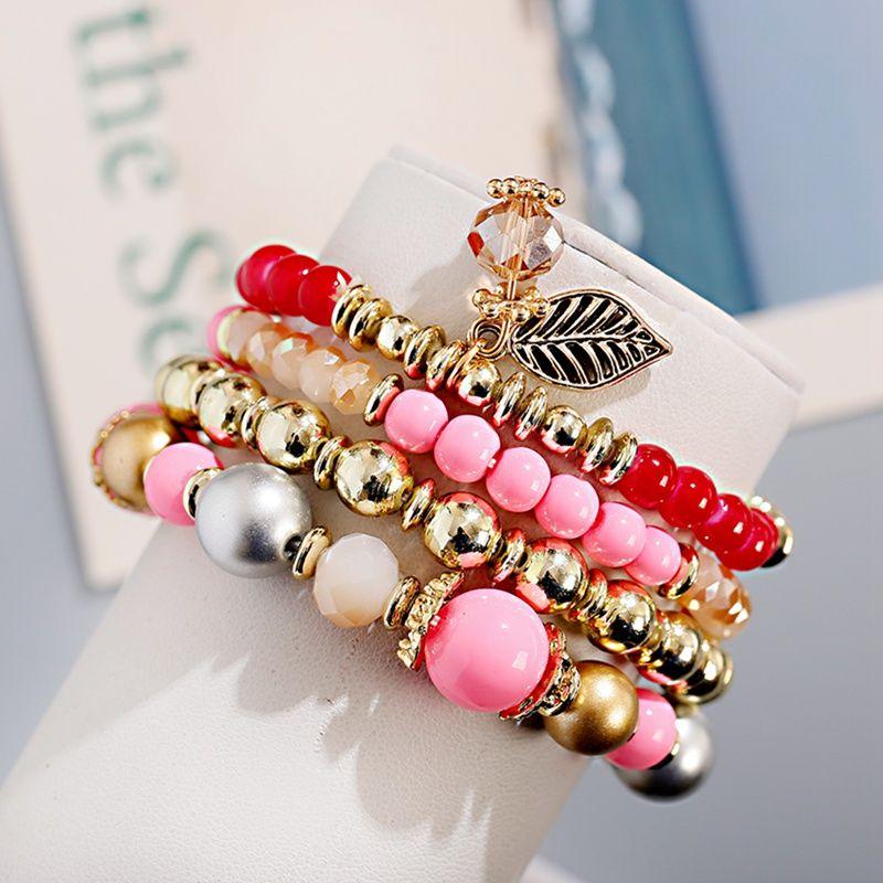 4pcs / Lot Boho femmes BraceletsBangles Vintage Leave Perle ethnique Pendentif Perles en alliage naturel StoneGold Charm Bracelets Set