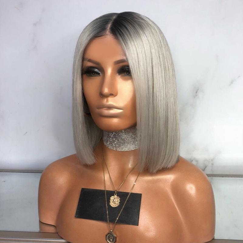 De Europa y América-mujeres del estilo de la peluca Negro Gris Melange Carve Bobo recto corto de la hebilla del pelo de la onda del pelo sintético de tinción