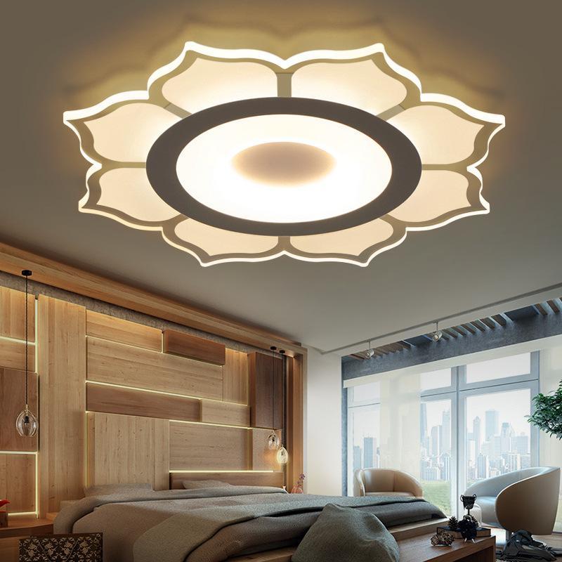Modern lustre LED projeto da flor de Lotus luzes de teto sala de estar quarto casa Nordic chandelier D48 luz acrílico