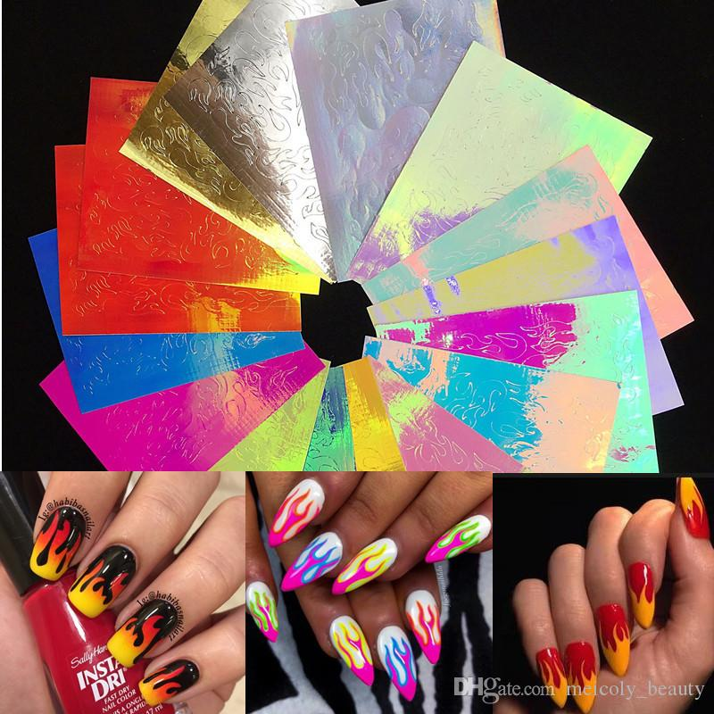 Nail Art Stickers 16 Sheets Nail Foil Stickers Fire Flame Reflections Tape Adhesive Sticker Foils Diy Decoration Nail Decor Lace Nail Stickers Nail Art Stickers Online From Meicoly Beauty 3 05 Dhgate Com