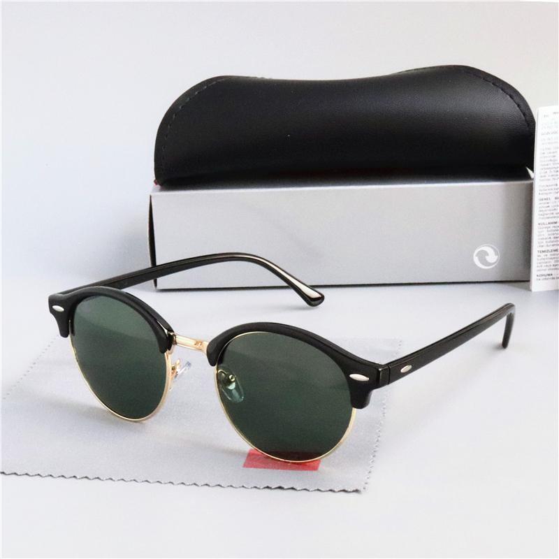 Marco clásico del diseño gafas de sol redondas del oro del metal de la banda Gafas Gafas Hombres Mujeres Espejo lente gafas de sol con la caja 4246