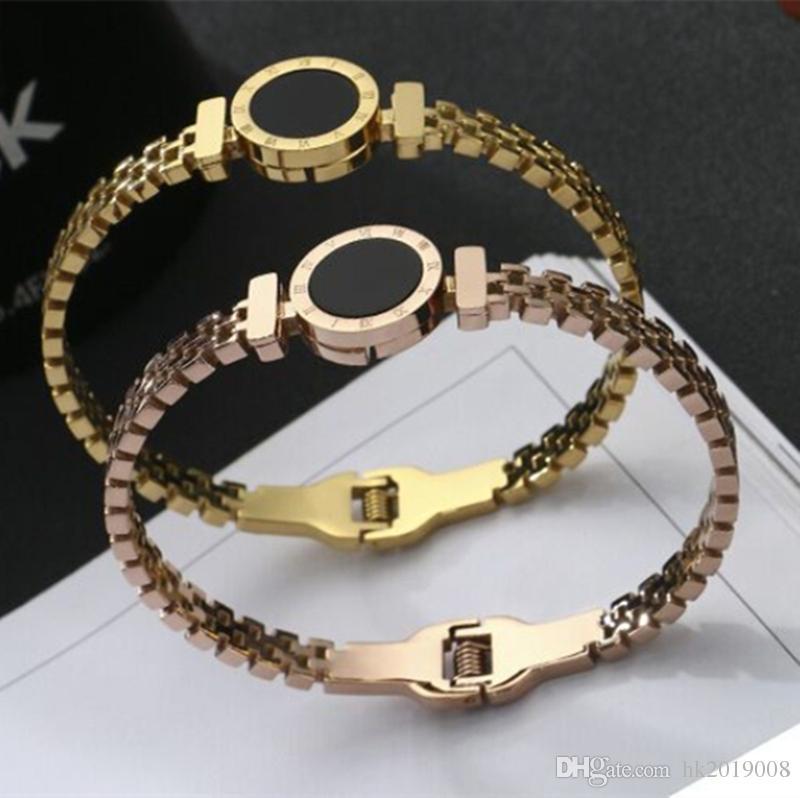 Женщин высокого класса браслет-манжета розовое золото римские числовые круглый колокол любовь браслеты браслет полые дизайн ювелирных изделий браслеты Бесплатная доставка