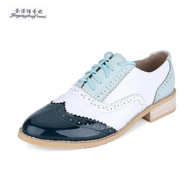 100% echtes Leder Rind Oxford-Schuhe für Frauen lässigen Vintage geschnitzt Schnürschuh Oxfords Schuhe Big Size Bullock 33-47 Wohnungen