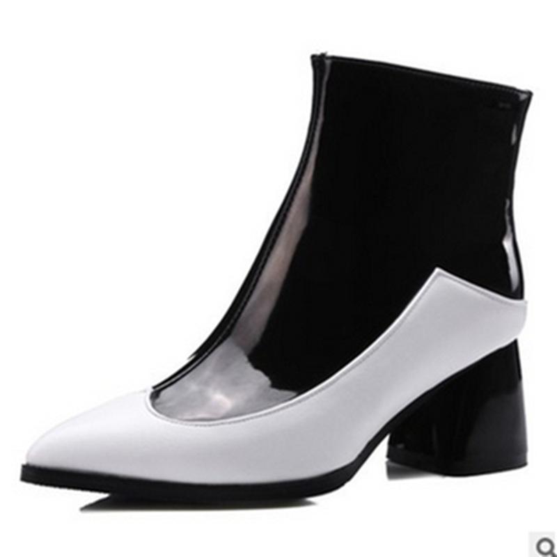 Lady Соединенные Штаты и европейский стиль Сексуальная горячая распродажа большого размера копыта каблуки 34-43 Zip лодыжки высокой каблуки сапоги короткие меховые зимние ботас