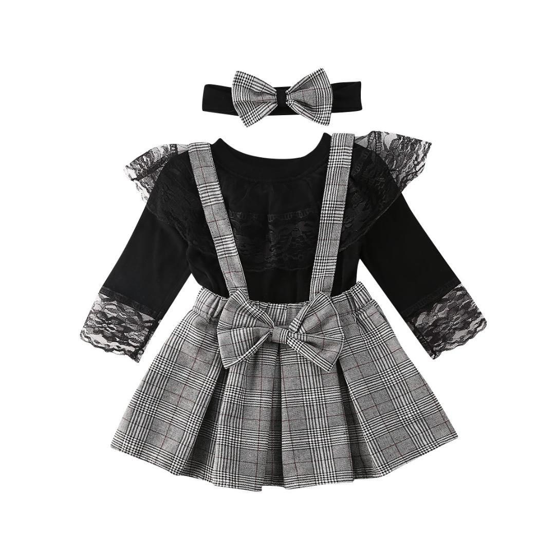 1-6Y Toddler Kid Girl Baby Clothes Set Black Long Sleeve Lace T shirt Tops + Plaid Ruffles Skirts Overalls Spring Girl Costumes