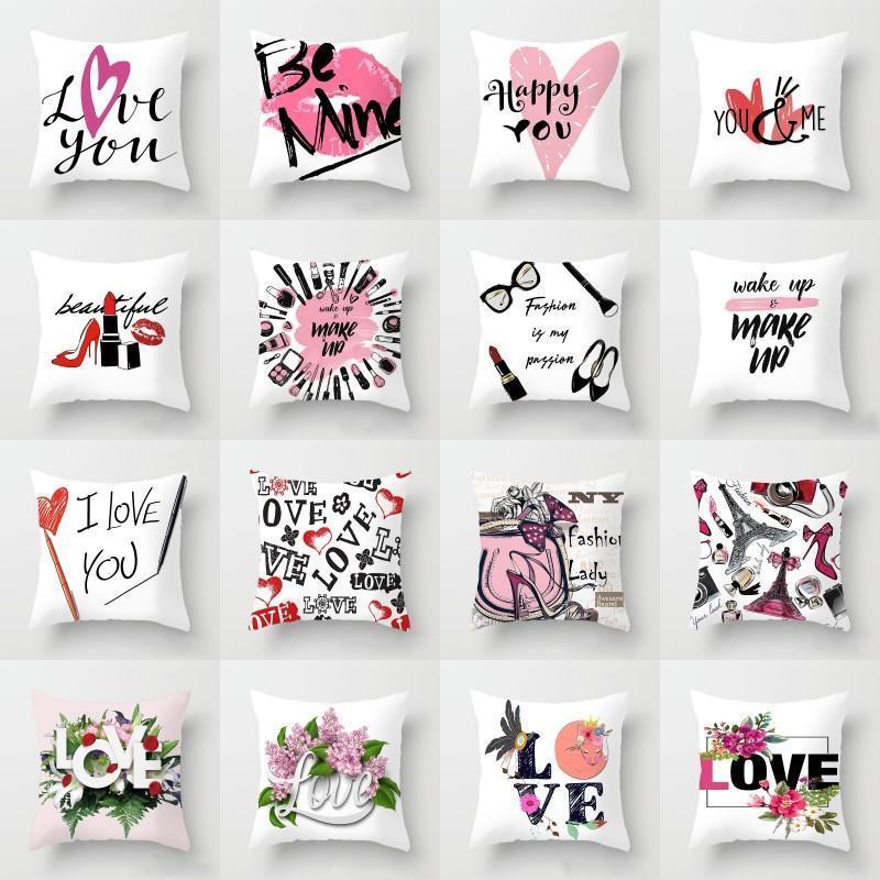 Happy Valentines Day Pillowcase O amor faz-se letra da cópia fronha Casal Início Sofá Lance Pillowcase 45 * 45 centímetros