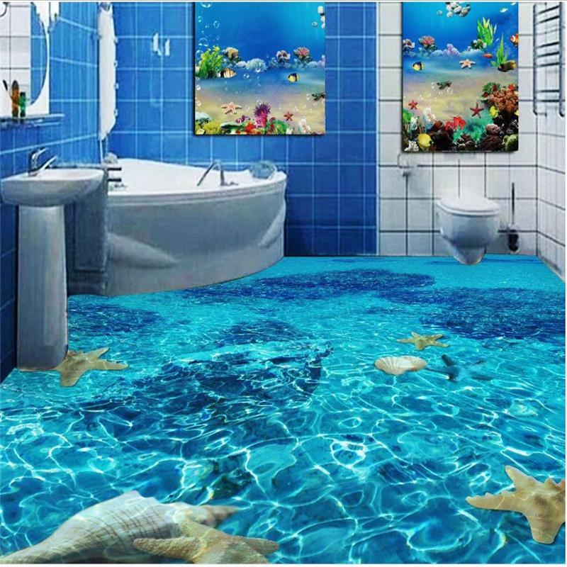 3D Wall Paper Floor Wall Sticker Creative Ocean Pattern Waterproof Self Adhesive PVC Bathroom Bedroom Floor Wall Papers