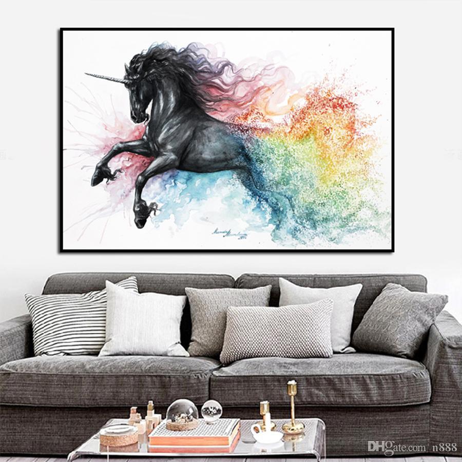 جميلة يونيكورن بلاك هورس قماش النفط الطلاء الحيوانات خلاصة جدار الفن صور لغرفة الديكور المنزلي 191004