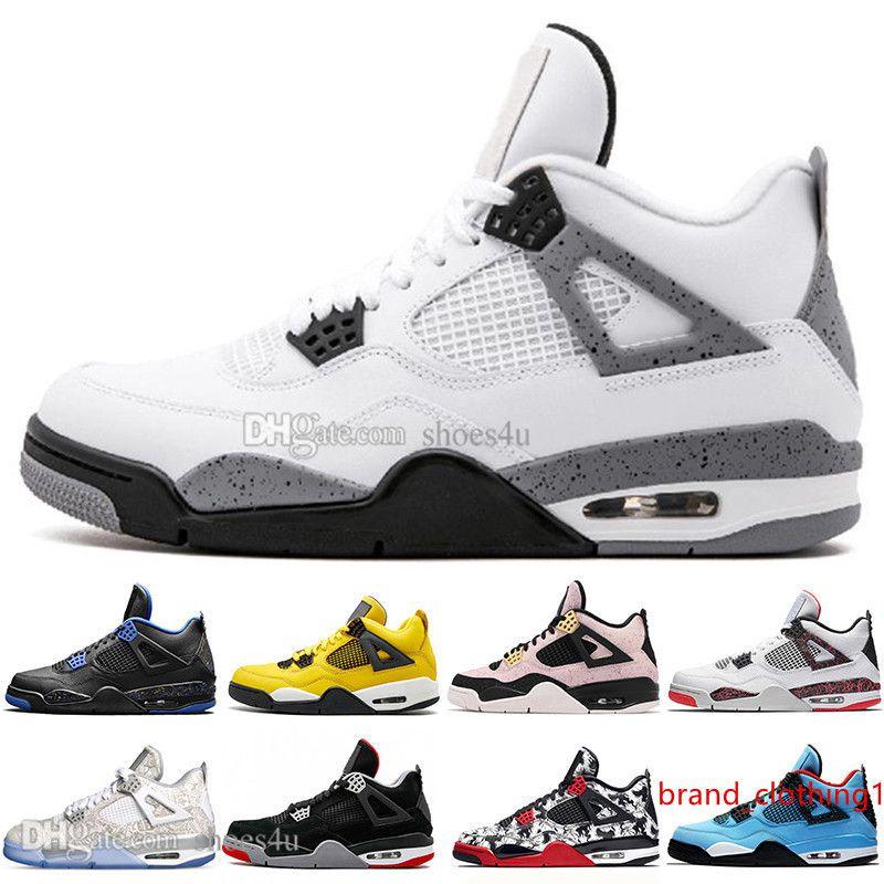 Heiße preiswerte neueste Bred 4 4s Was Die Cactus Jack Laser Flügel Herren-Basketball-Schuhe Denim Blue Eminem Pale Citron Männer Sports Designer-Turnschuhe