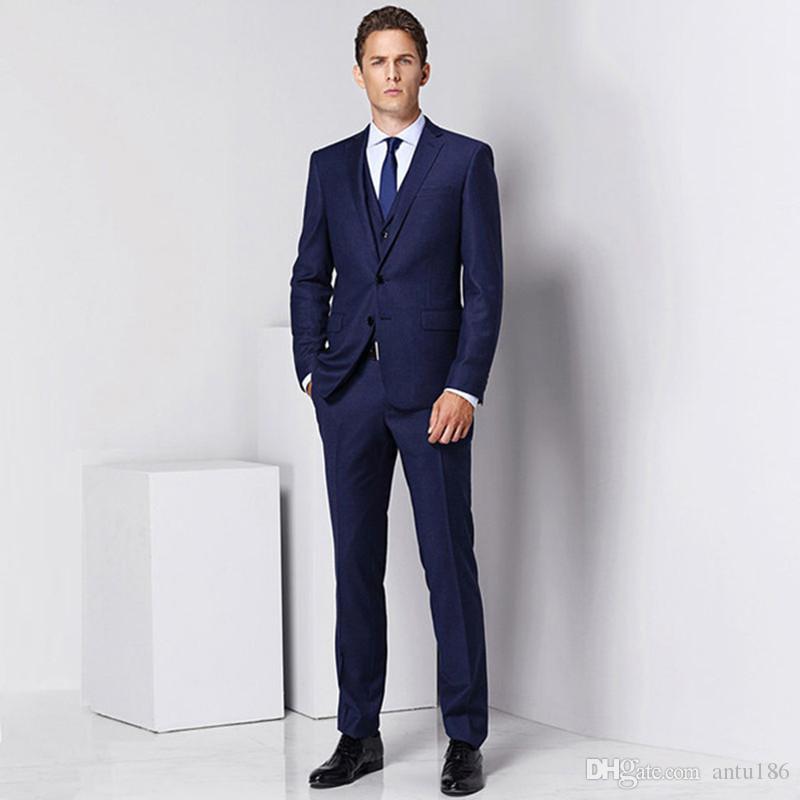 Erkek moda düz renk takım elbise üç parçalı takım (ceket + pantolon + yelek) düğün damat sağdıç elbise erkek iş ofisi resmi takım elbise