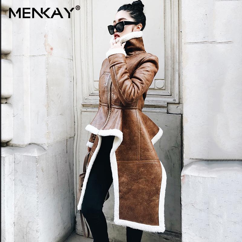 [MENKAY] irregular chaqueta de cuero más el tamaño de la capa del invierno largo piel de imitación de las mujeres de Corea ropa de moda CJ191128