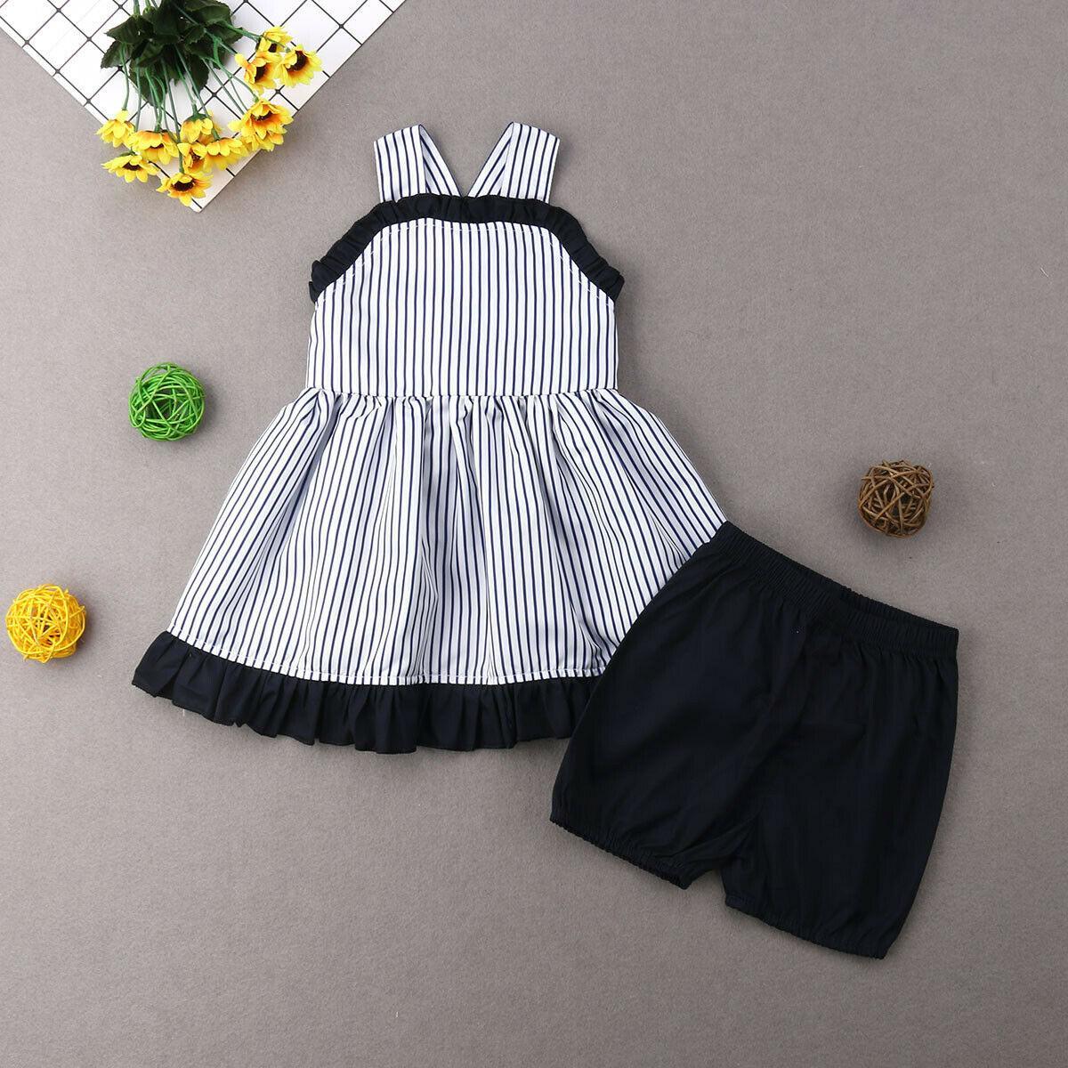 Emmababy 2шт 2019 летняя одежда для девочек комплект одежды для платья полосатые топы платье + короткие брюки темно-синие шорты милый набор