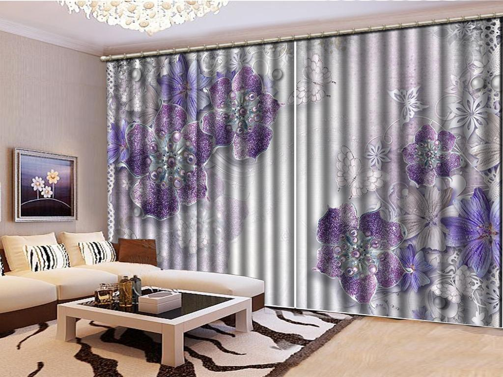 2019 Custom 3D Floral Curtain Purple Jewelry Flower White Butterfly Living  Room Bedroom Beautiful Practical Shade Curtains From Yunlin188, $194.98 |  ...