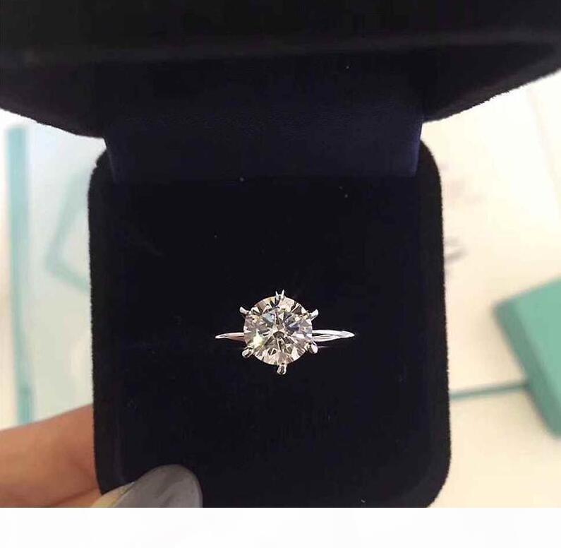O carimbo de seis garra 1-3 quilates de diamante CZ 925 anéis de prata esterlina anelli para casar com mulheres anéis de noivado de casamento define amantes de jóias de presente