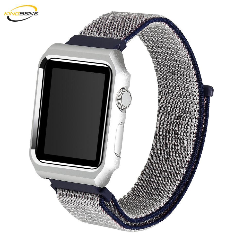 KINGBEIKE Esporte Substituição Nylon Watchband + Quadro Para A Apple Assista Série 1/2/3 Relógio de Pulso Strap iWatch 38mm 42mm Tipo Banda