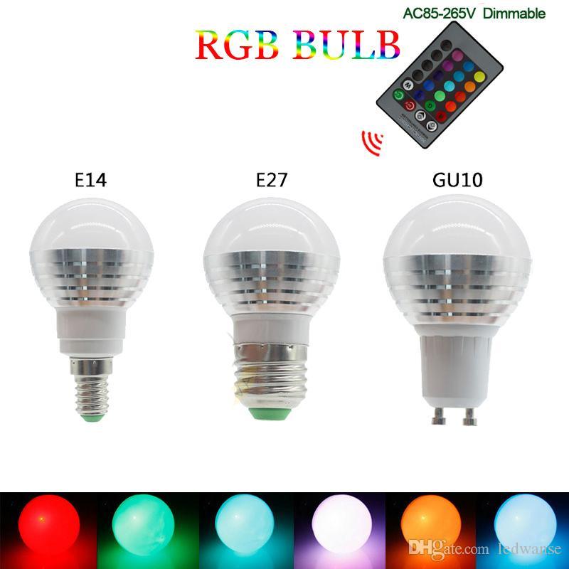 16 Color LED Bulbs 85-265V E27 E14 GU10 Magic LED Night Light 24key Remote Control Dimmable Stage Light
