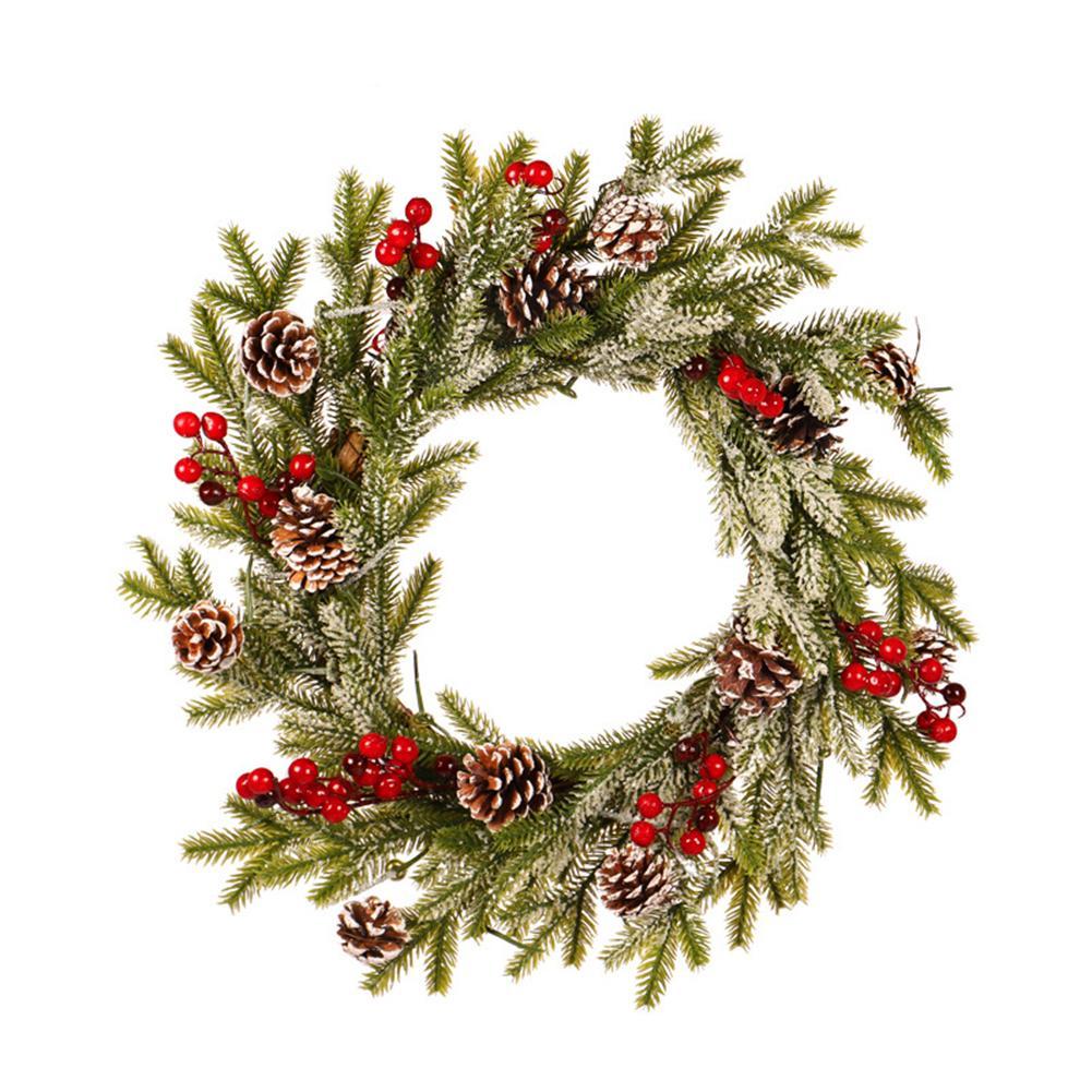 Noël Garland Pomme de pin rouge Fruit Couronne romantique Décoration Flocage blanc Pendentif avec gel Ornements