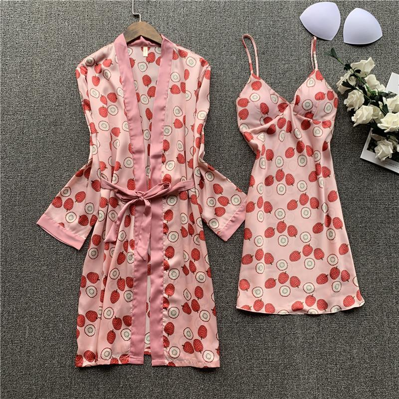 Casual Satin Women 2 PCS Nighty&robe Set Kimono Bath Gown Summer Sexy Mini Sleepwear Nightdress Print Rayon Homewear Nightwear