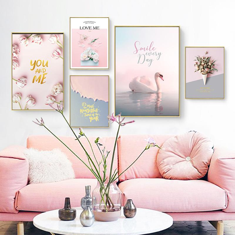 Pink Swan Rose Flower Landscape Wall Art Canvas Painting Nordic Posters And Prints Decoration Pictures For Living Room Decor
