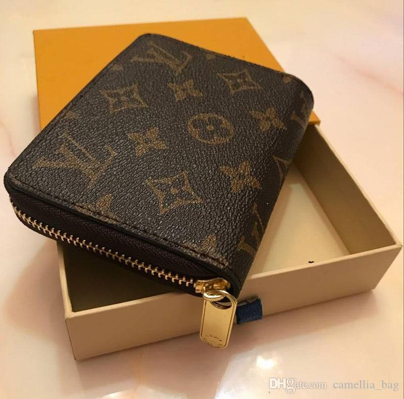 Classic brown flower design short Wallet Men Women Real Leather wallet single zipper coin purse with gift box Card Holders bag