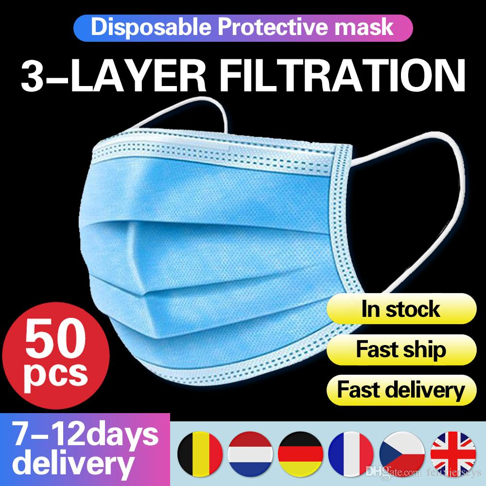 Stock Disposable Face Masks with Elastic Ear Loop 3 Ply Dustproof Breathable Non Woven Disposable Anti-Dust Face Mask