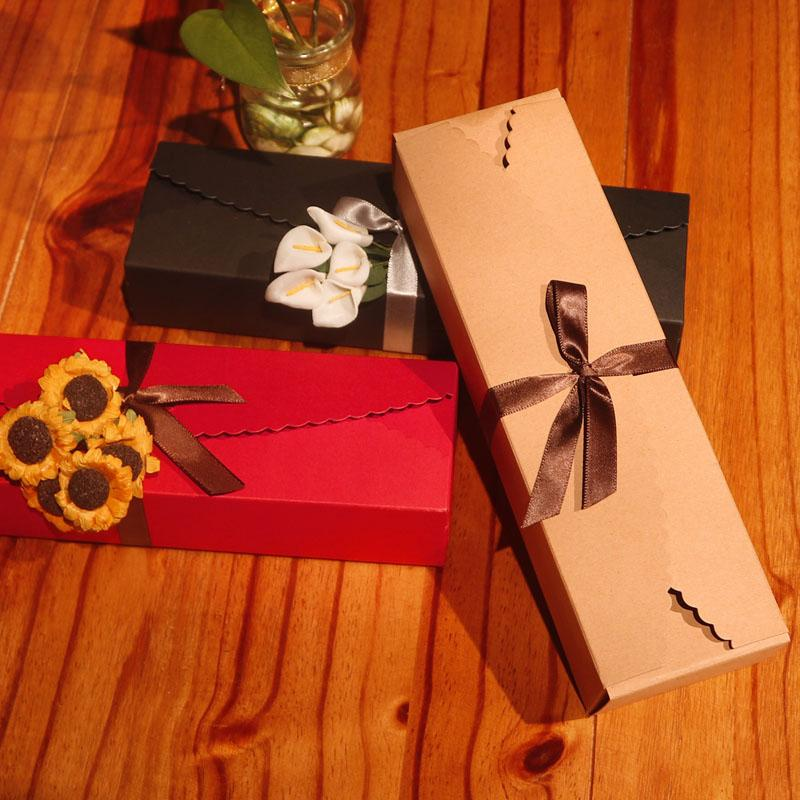 20pcs Kraft Paper Candy Box Red Black White Gift Boxes DIY Chocolate Cookie Packaging Boxes Bag With Ribbon Wedding Party Favor