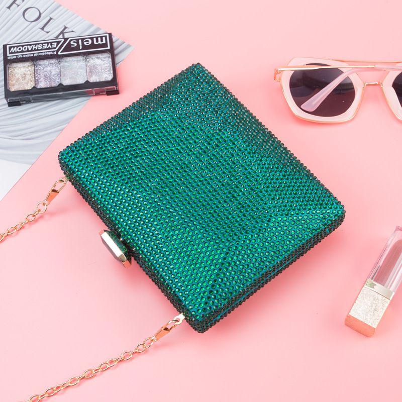 Pochette ZD1453 Crossbody Green para mujer Embrague Bolsa Cadena Bolsos de noche Femme Crystal Party Monedero Bag Gold Femme Fashion uveqs