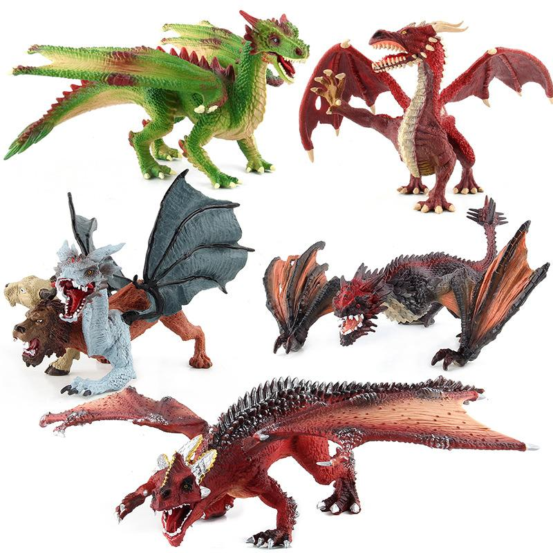 Hot Selling Lower Jaw Mobile Dragon Variation Magic Dragon Static Model Ornaments Soft Silcone Stereo Simulated Dinosaur Models