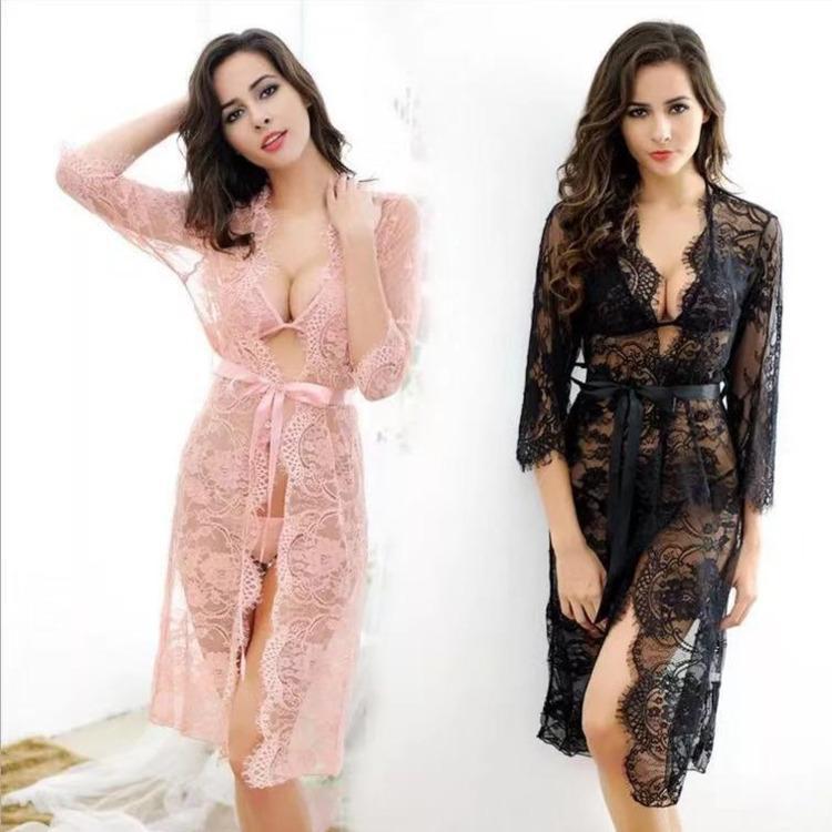 Women Sexy Lingerie Gown Lace Robes Long Sleeve Femme Nightie Kimono Summer Pajamas For Nightgowns Pink Black Nightdress Silk Sleepwear Set