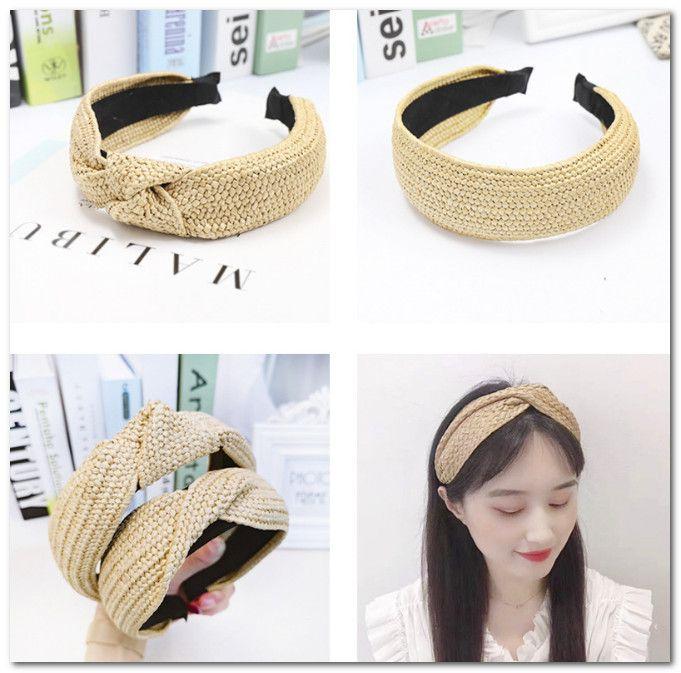 Boutique Girls grass braid hair sticks kids stripe rattan weaving hairbands handmade children cross bind tie princess hair accessories J0714