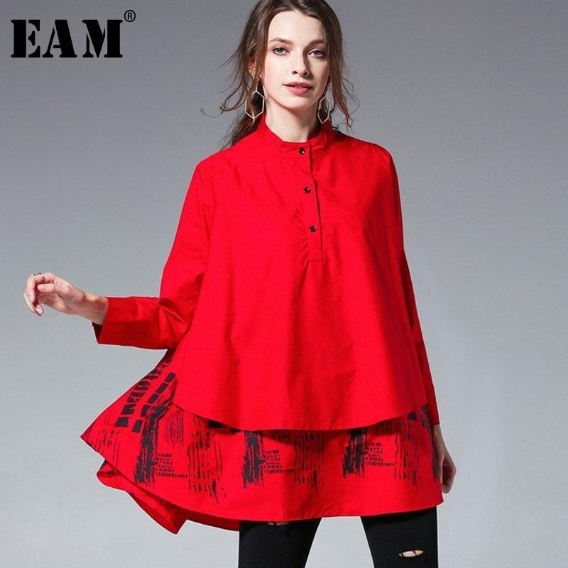 [EAM] 2019 Nueva Primavera Verano Color sólido Blusa estampada Manga larga Soporte empalmado Tamaño grande Camisa de mujer suelta S05600L T190611