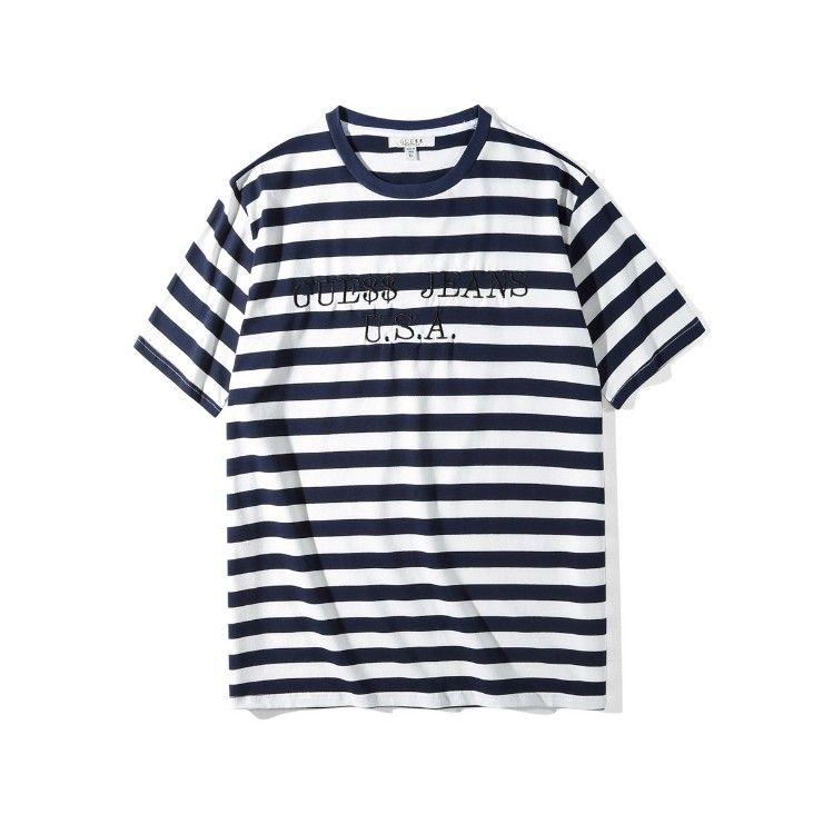 camisas para hombre rayada EE.UU. T verano bordado de la manera camisetas de manga corta Tops Ropa