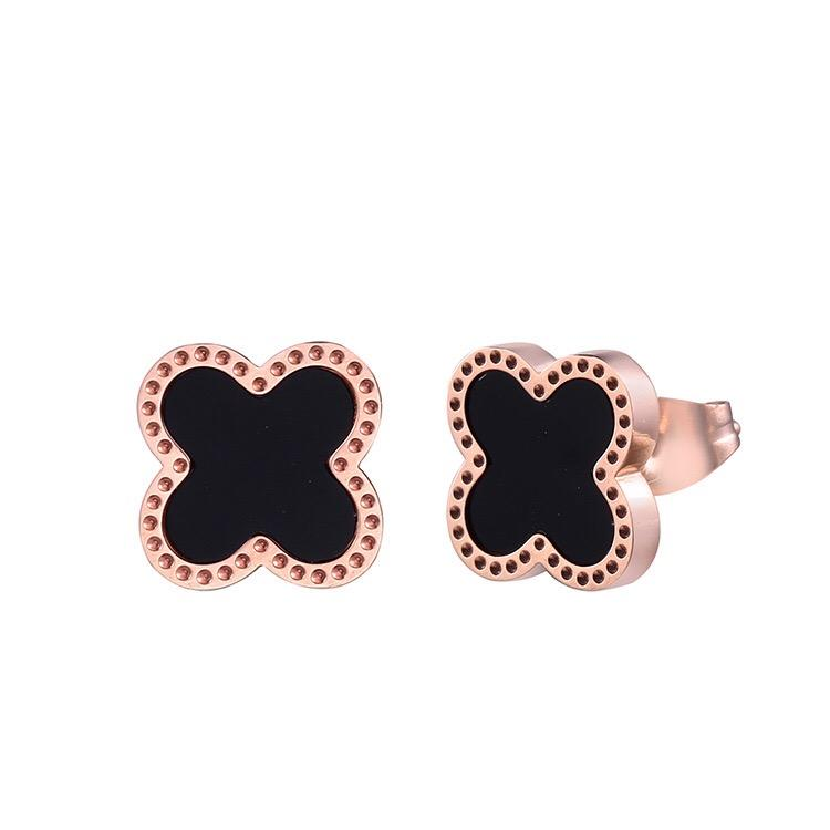 2019 Popular Fashion Jewelry Titanium Stainless Steel Clover Stud Earrings for Women Girls Rose Gold Color