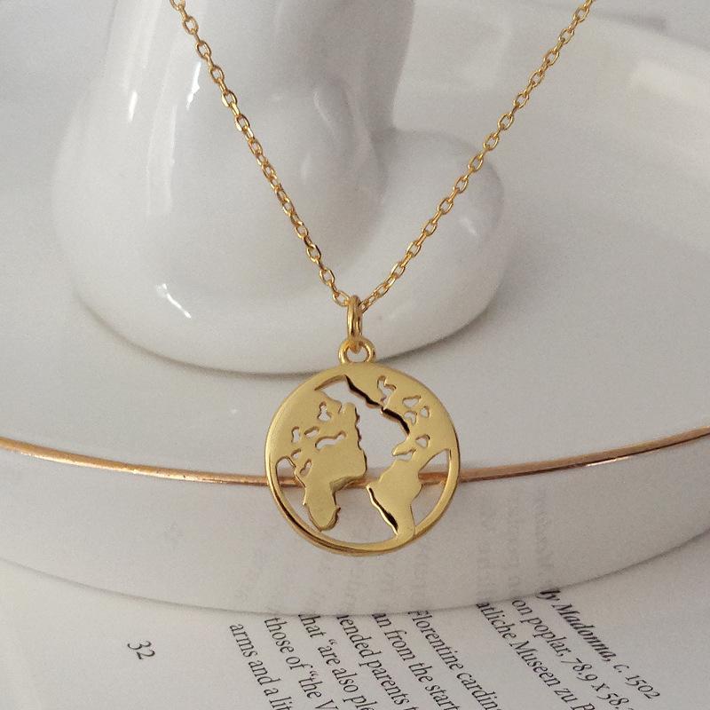 Cadena de Oro de la vendimia joyería collar verdadero de 925 redondo de plata colgante Gargantilla Mundial para las mujeres de los colgantes