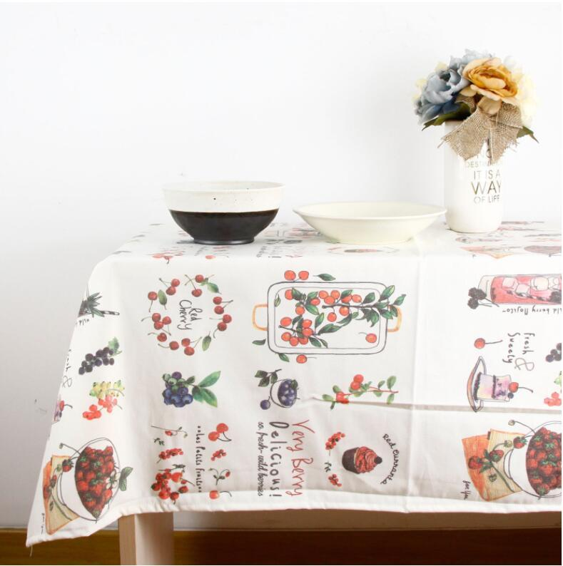 High quality Korean style fruit printing tablecloth simple cotton linen tablecloth cotton linen table cloth export