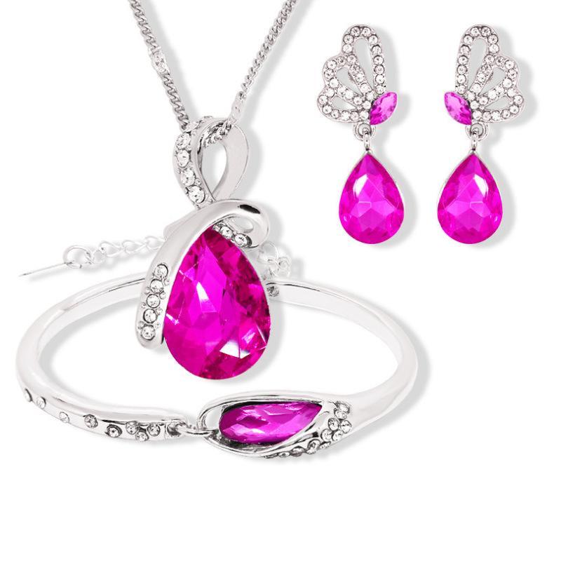 Purple Silver Crystal Necklace Earrings Set Women Girls Wedding Dress Jewellery