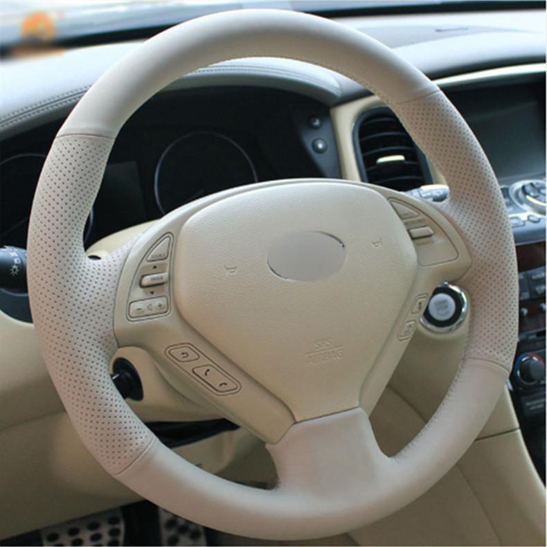 Верхнее кожаное рулевое колесо ручной стежок на оберточной крышке для Infiniti G25 G35 G37 QX50 EX25 EX35 EX37 2008-2013