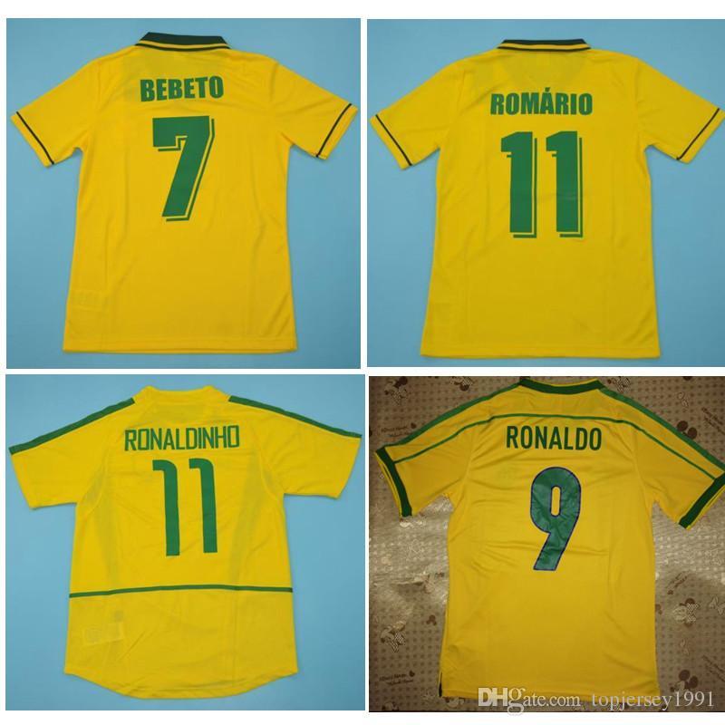 1994 브라질 유니폼 히바우두 1998 브라질 복고풍 빈티지 클래식 셔츠 카를로스 호마리우 호나우두 호나우지뉴 2002 축구 유니폼 camisa 드 Futebol 팀