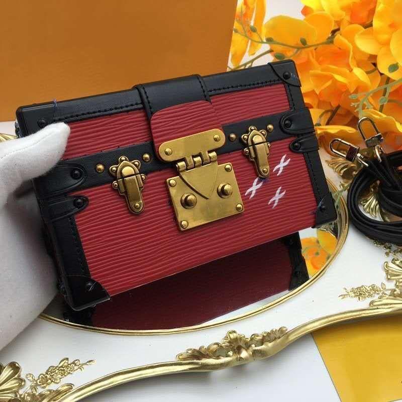 Luxe femmes Designer Sac à main en cuir véritable avec la boîte en bois Toile Sac Sous une épaule Sac lettre gratuite boîte-cadeau