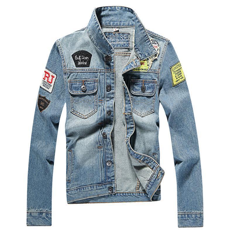 Los hombres del otoño dril de algodón de la moda de alta calidad de la chaqueta de los pantalones vaqueros del ajuste delgado chaquetas para hombre streetwear ocasional de la vendimia de la mezclilla ropa más el tamaño M-3XL