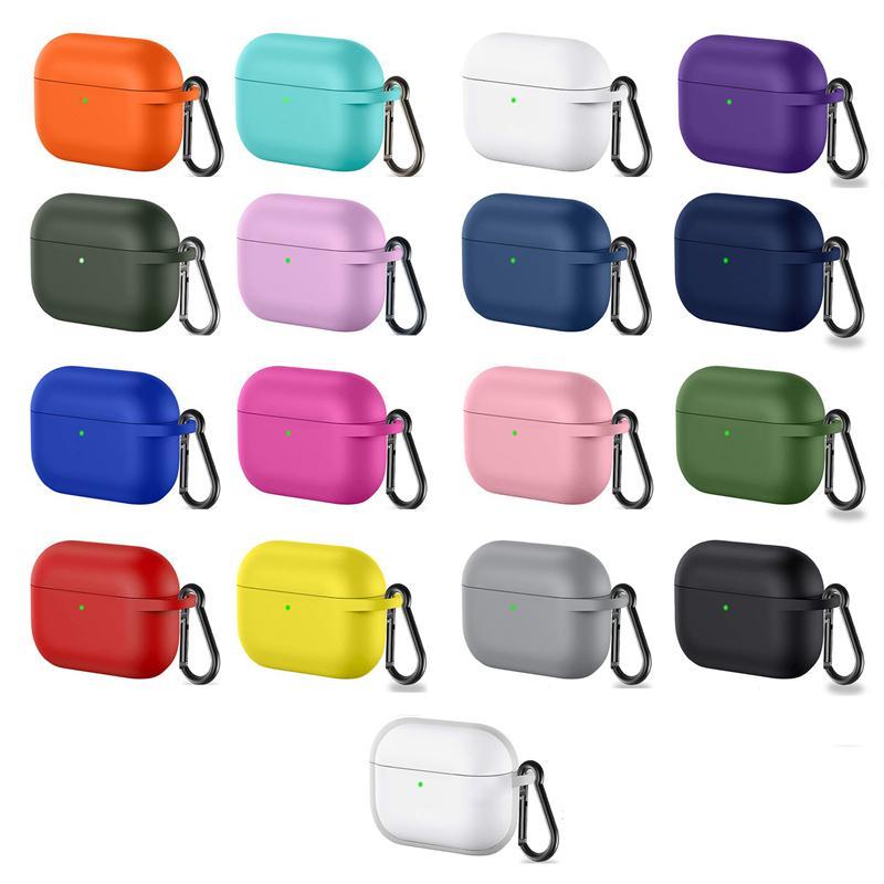 Nouv en silicone pour AirPod Pro cas de protecteur anti-perte de cas Oreillettes avec crochet pour AirPod 3 écouteurs anti-perte