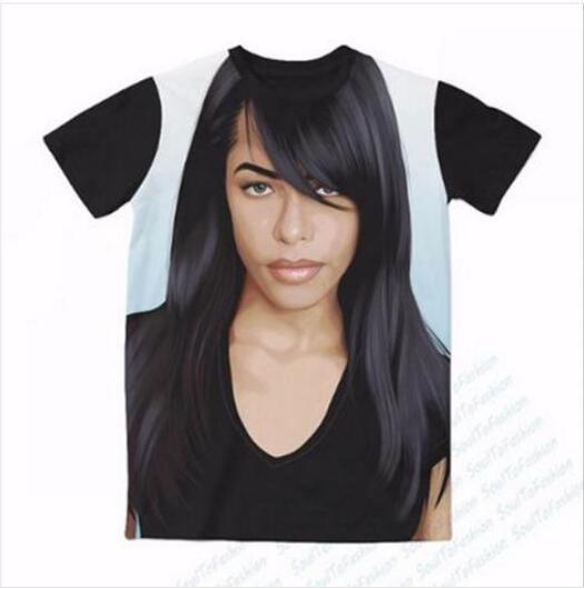Neueste Art und Weise der Männer / Womans Aaliyah Sommer-Art-T-Shirts 3D-lässig T-Shirt Tops Print Plus Size BB0147