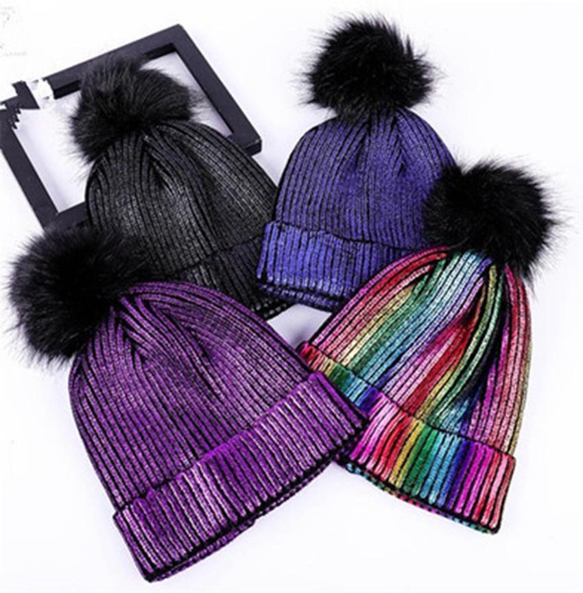Зимние шапки для парня девушку Новые Шапочки вязаные Флуоресцентные Hat девочек осень Beanie Caps Подогреватель Повседневный Cap ZZA1015