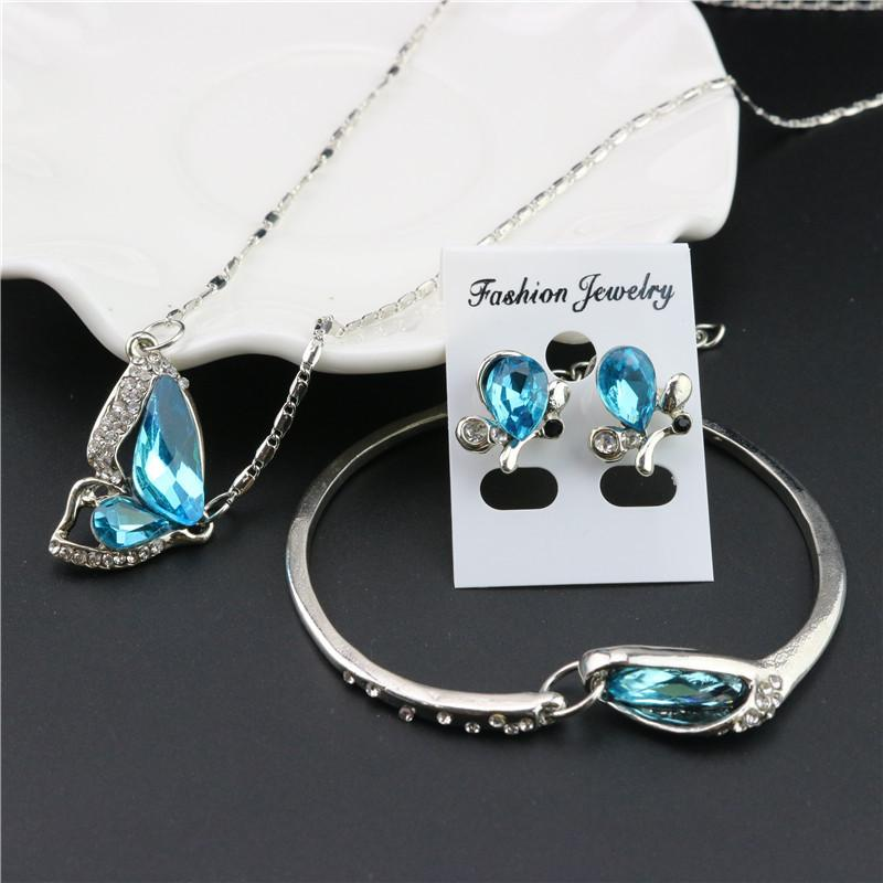 2020 Fashion Design Butterfly Crystal Necklace Earring Bracelet for Women Silver Chain Wedding Jewelry For Women girls